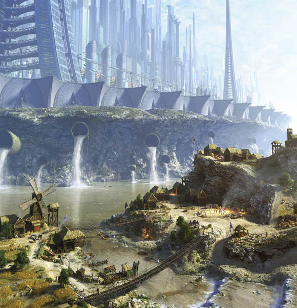 Green Futuristic City Scifi